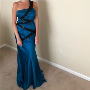 Teal one shoulder dress gown